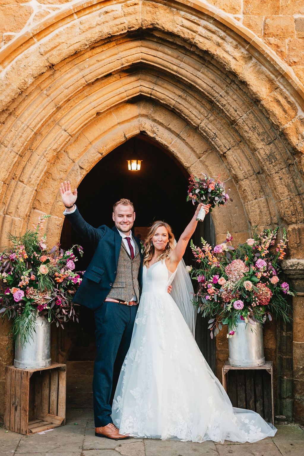 Pink winter wedding flowers in an intimate and socially distanced wedding